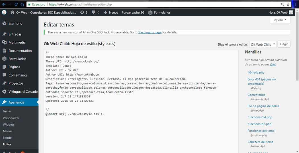 Ok Web - Editar tema