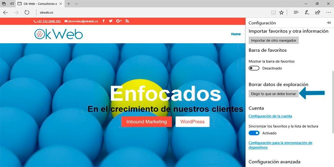 Ok Web - Eliminando cache de Microsoft Edge