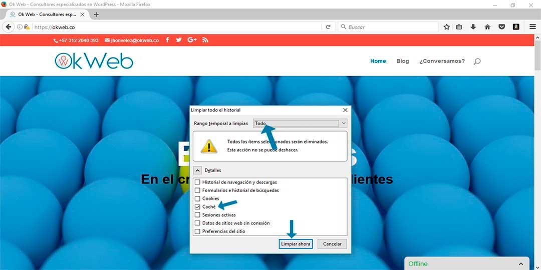 Ok Web - Eliminar cache con comando en mozilla