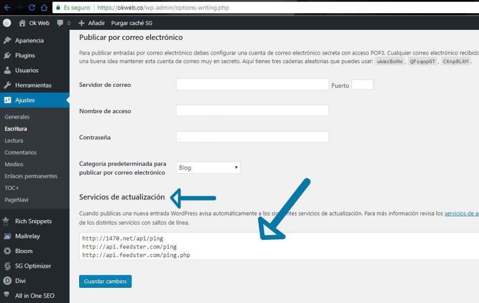Ok Web - WordPress - Servicios de actualización paso 2